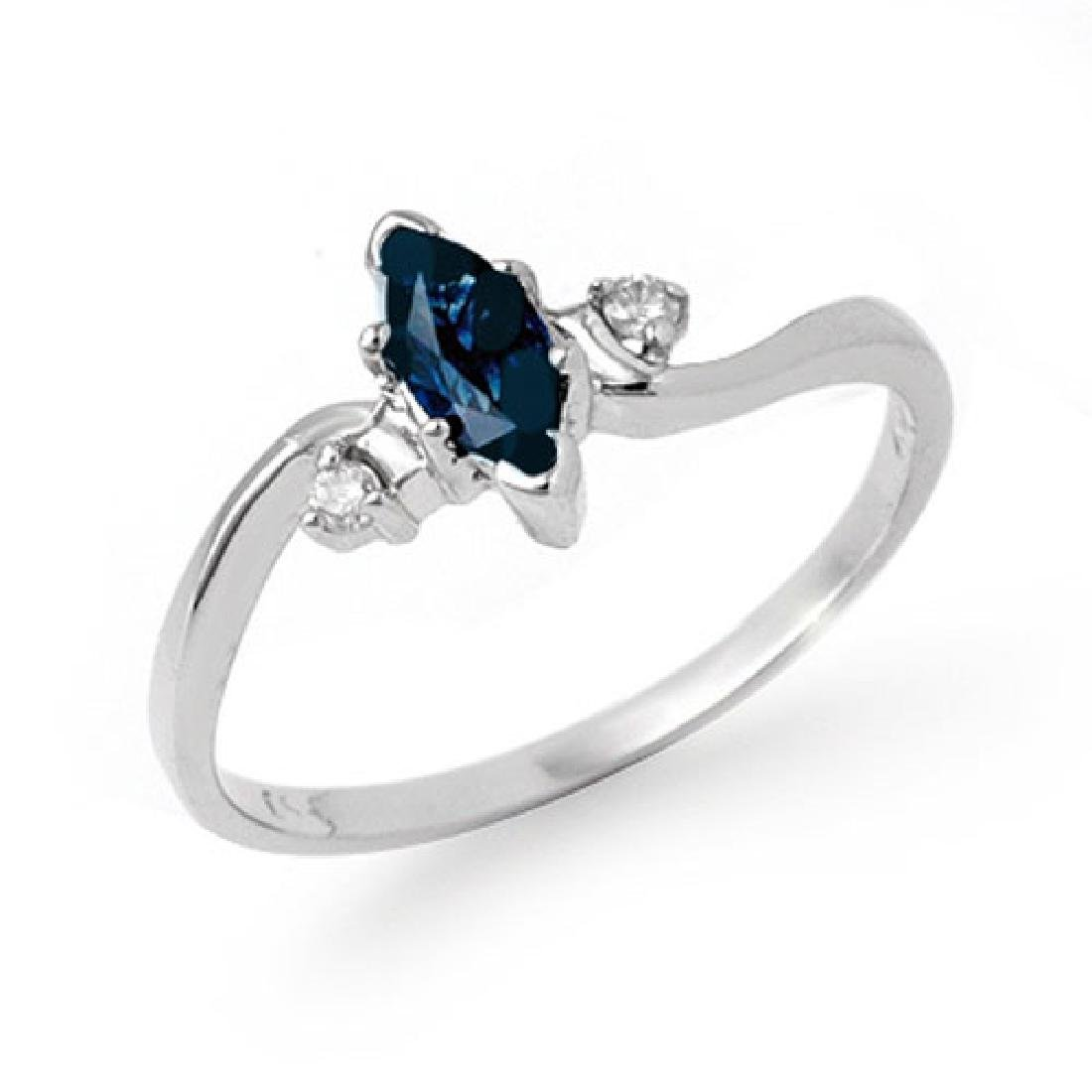 0.42 CTW Blue Sapphire & Diamond Ring 18K White Gold