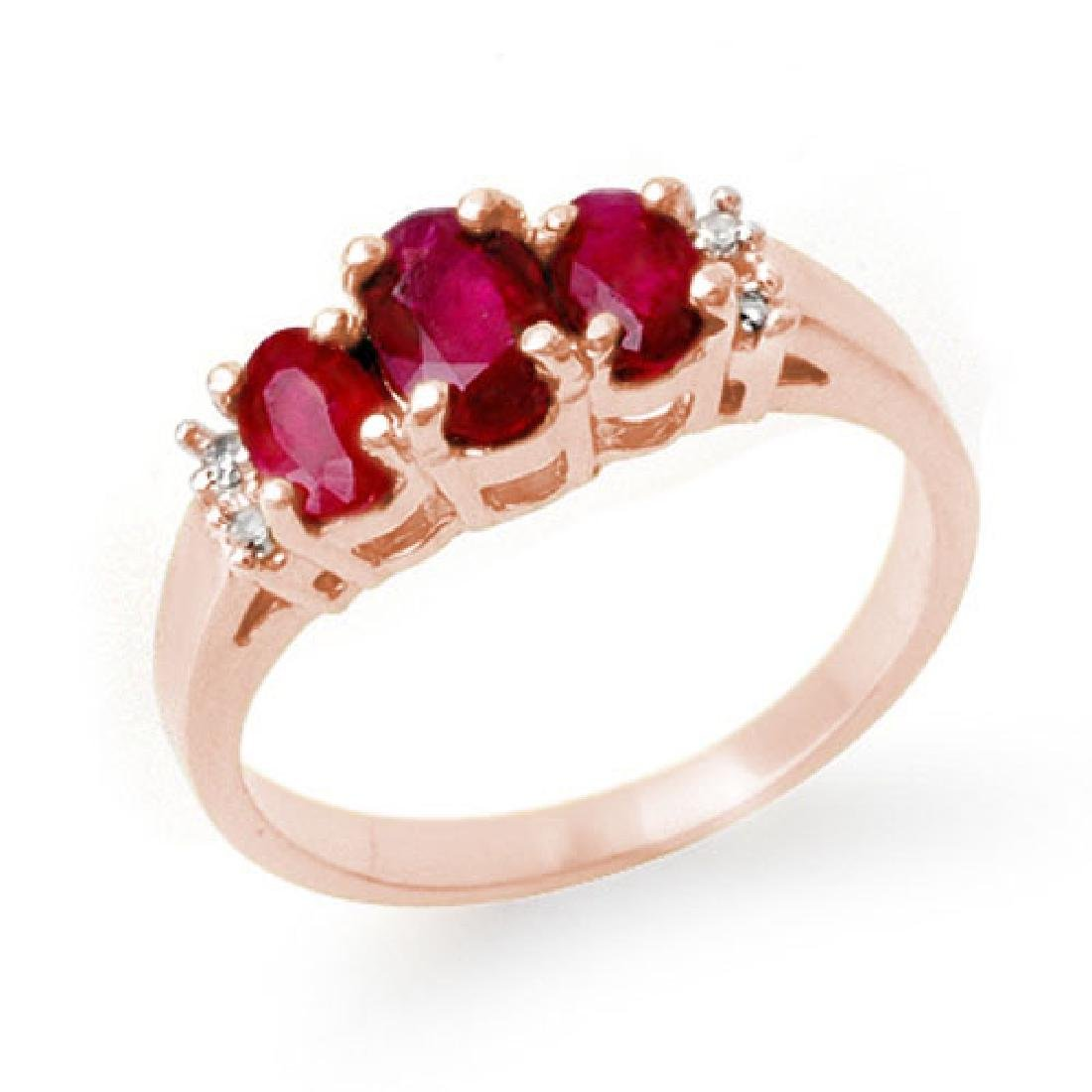 1.18 CTW Ruby & Diamond Ring 14K White Gold
