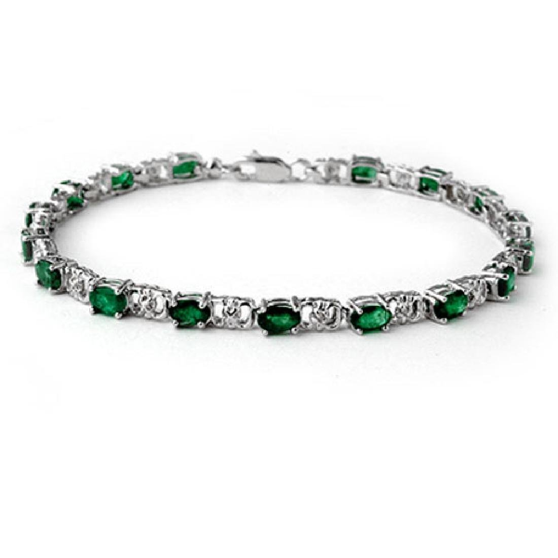 5.02 CTW Emerald & Diamond Bracelet 14K White Gold