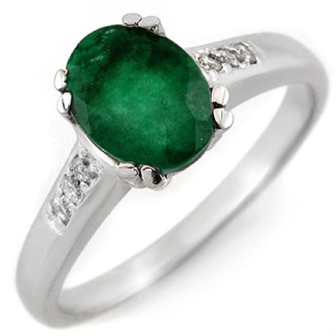1.10 CTW Emerald & Diamond Ring 10K White Gold