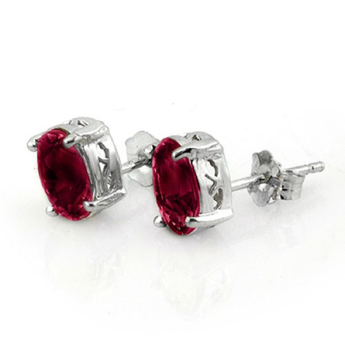 1.50 CTW Ruby Earrings 18K White Gold