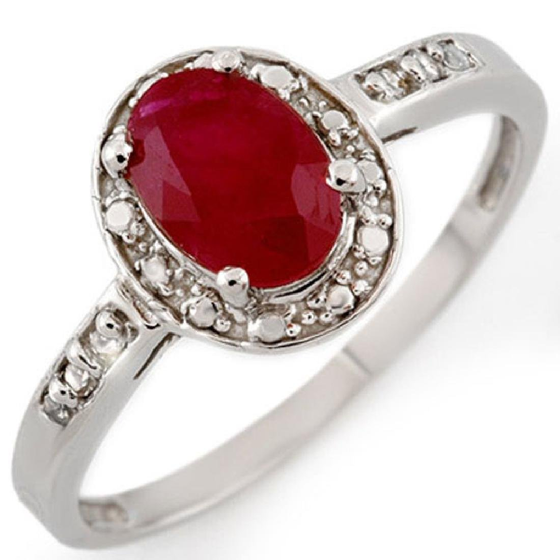 1.35 CTW Ruby & Diamond Ring 10K White Gold