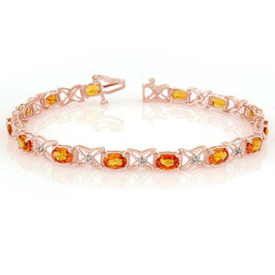 10.15 CTW Orange Sapphire & Diamond Bracelet 18K Rose