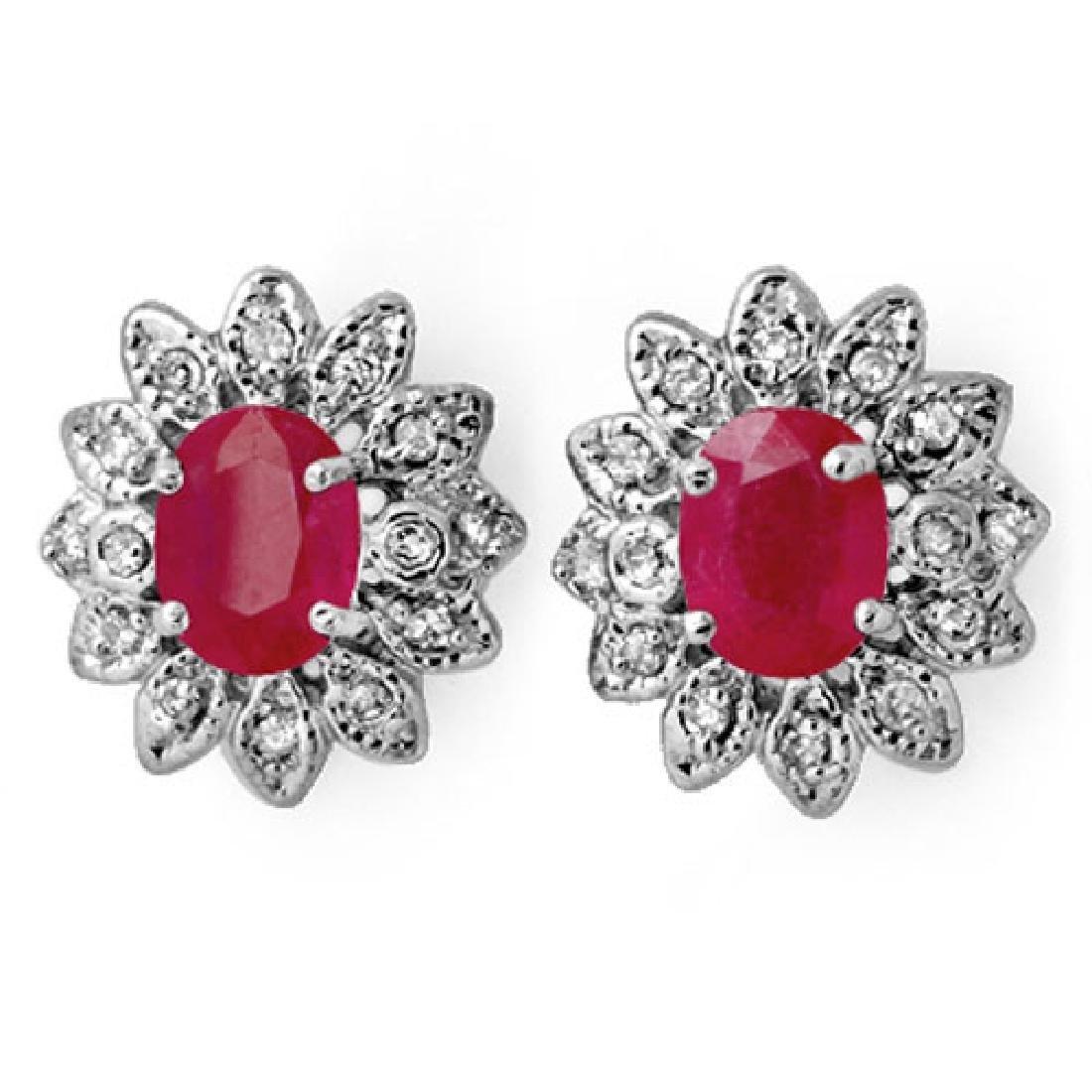 3.80 CTW Pink Sapphire & Diamond Earrings 14K White