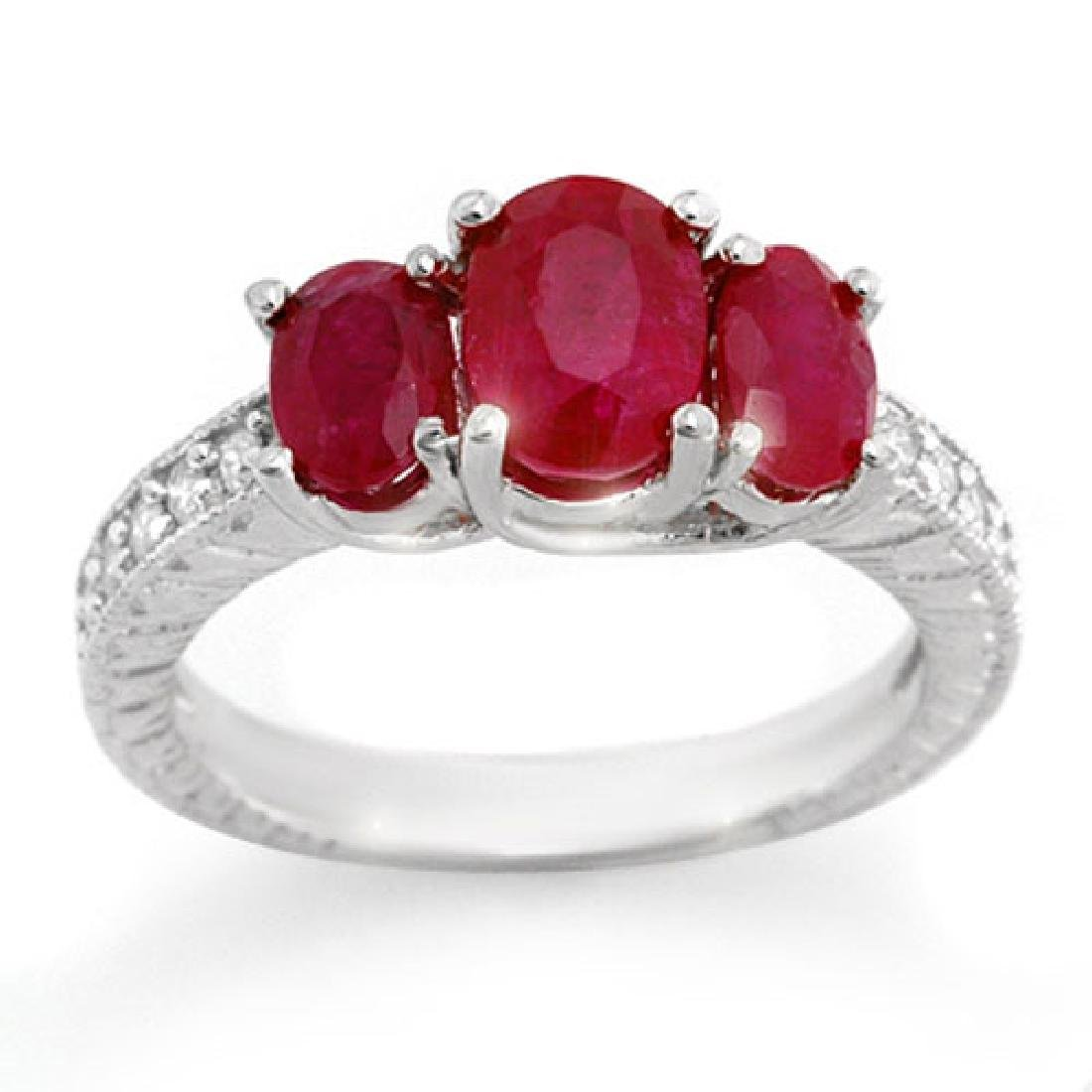3.75 CTW Ruby & Diamond Ring 10K White Gold
