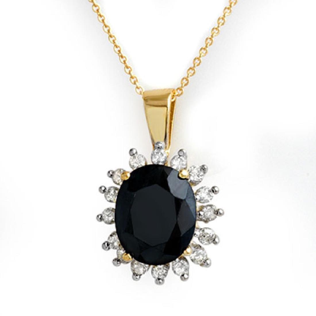 5.20 CTW Blue Sapphire & Diamond Pendant 14K Yellow