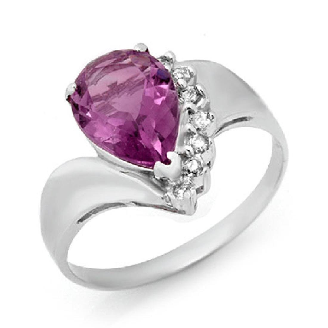 1.67 CTW Amethyst & Diamond Ring 18K White Gold