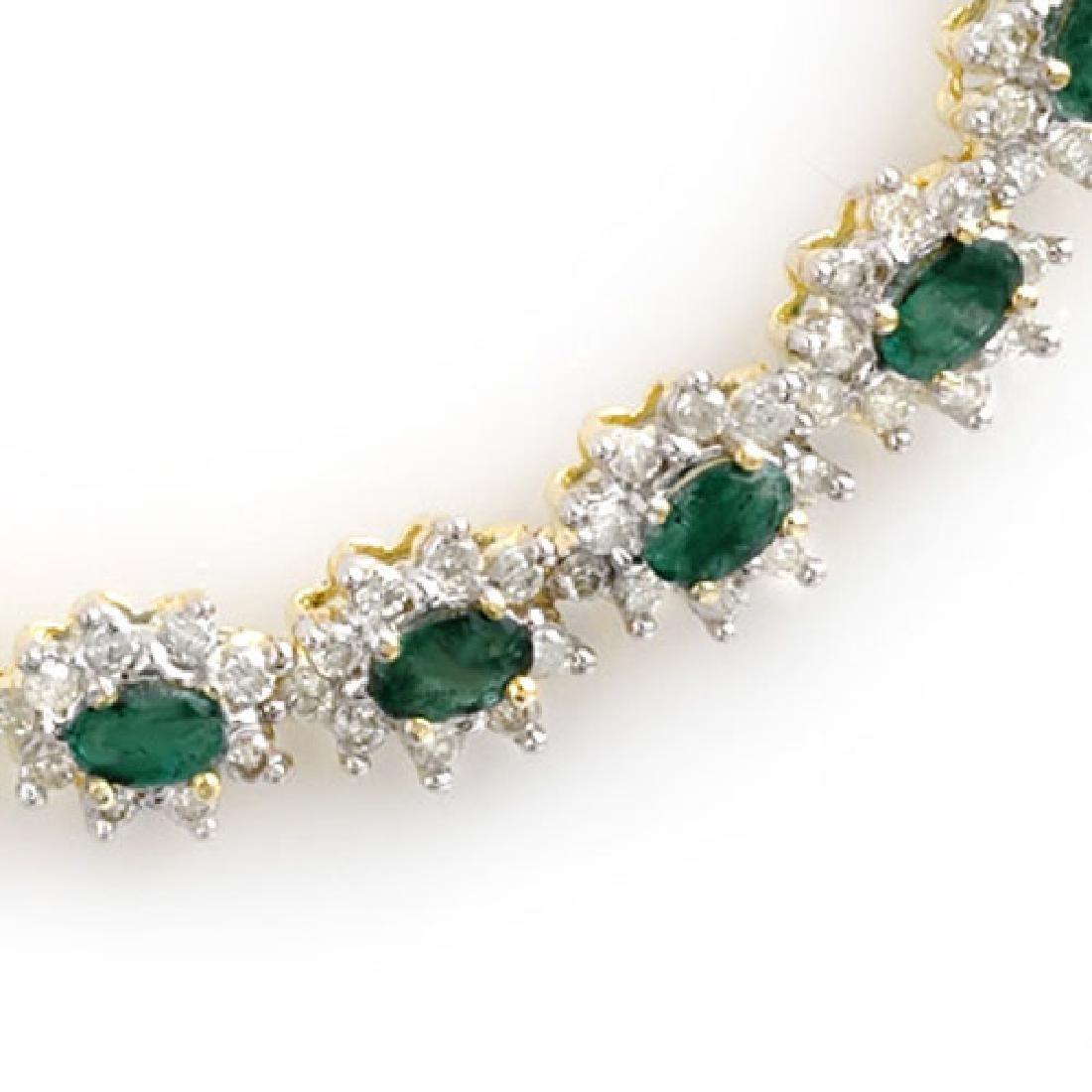 22.0 CTW Emerald & Diamond Necklace 14K Yellow Gold