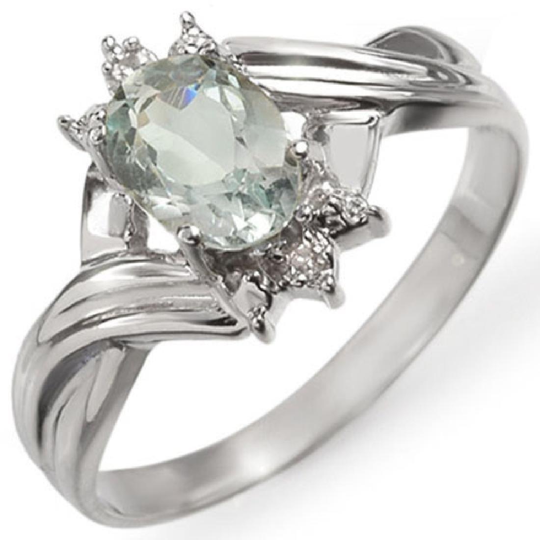 0.79 CTW Aquamarine & Diamond Ring 10K White Gold