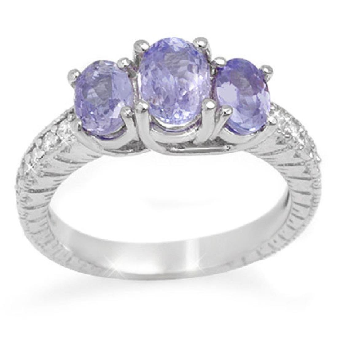 2.50 CTW Tanzanite & Diamond Ring 14K White Gold