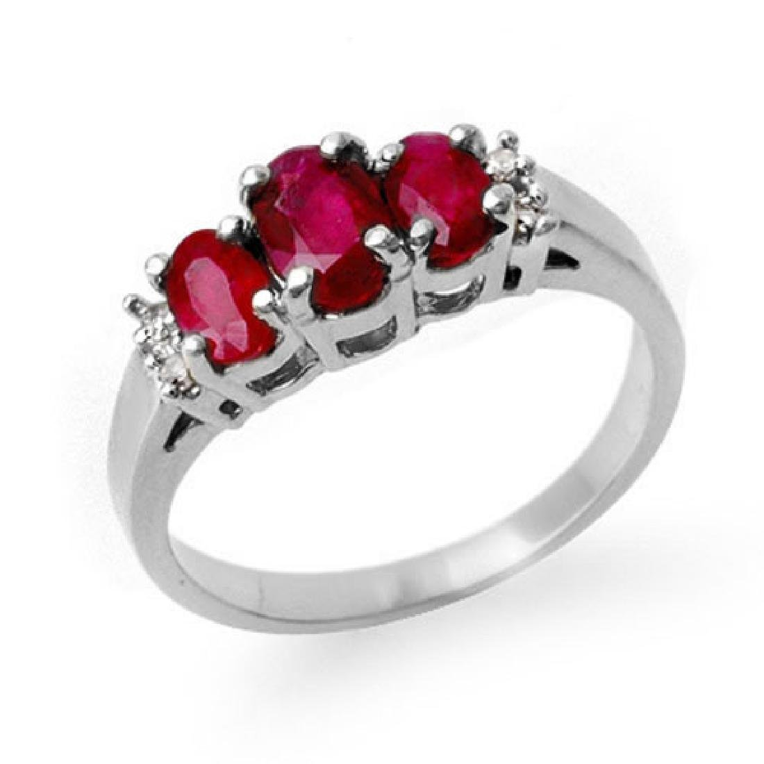 1.18 CTW Ruby & Diamond Ring 18K White Gold