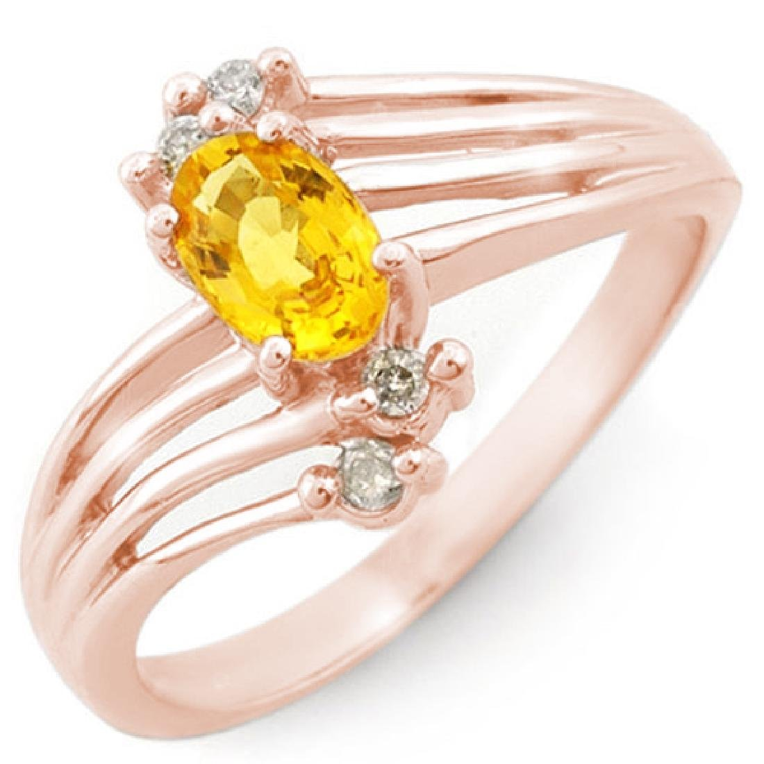 0.80 CTW Yellow Sapphire & Diamond Ring 14K Rose Gold