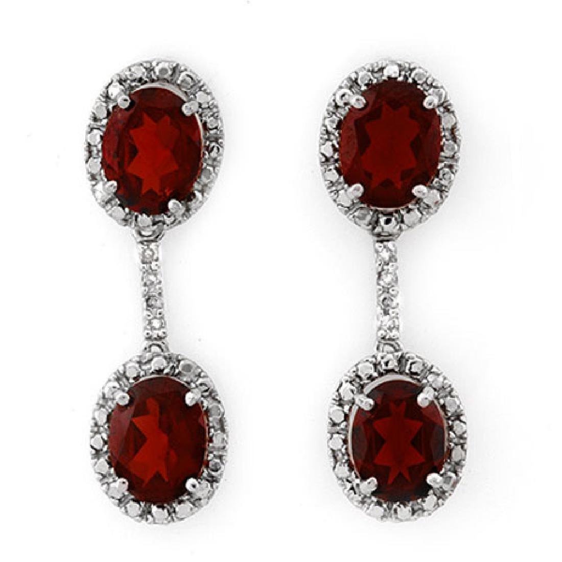 8.10 CTW Garnet & Diamond Earrings 10K White Gold