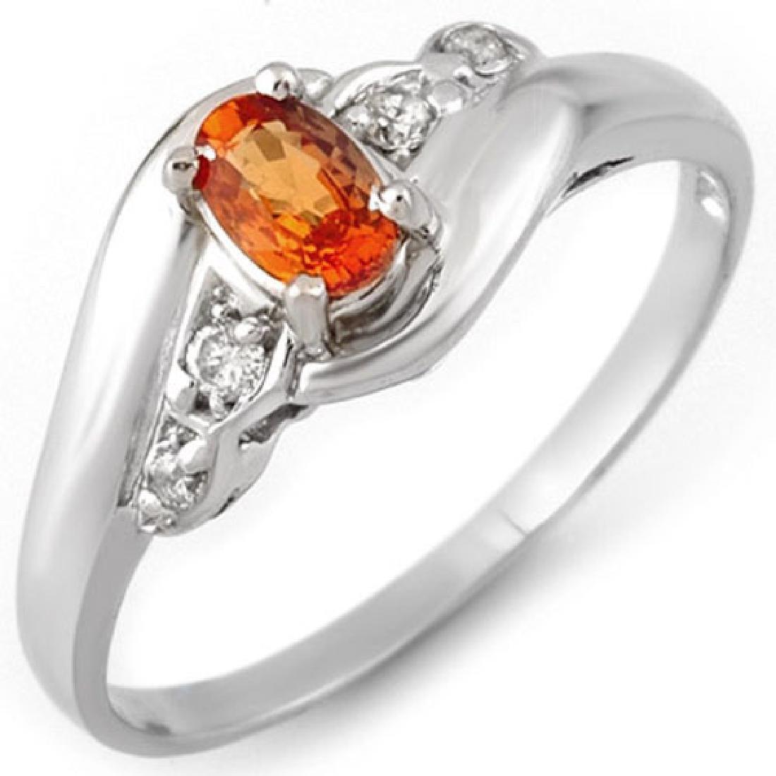0.42 CTW Orange Sapphire & Diamond Ring 18K White Gold