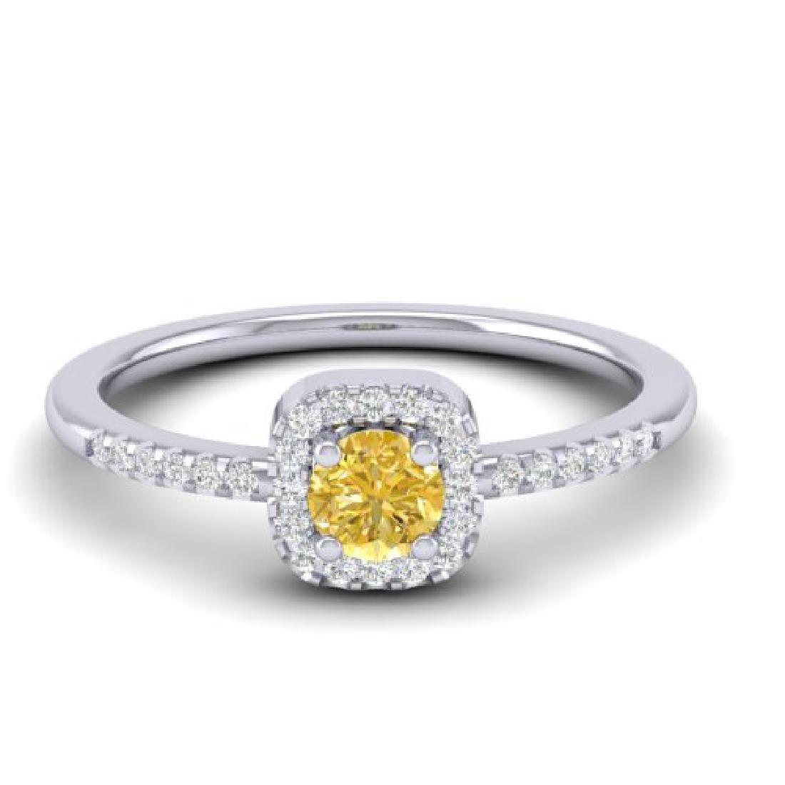 0.45 CTW Citrine & Micro Pave VS/SI Diamond Ring