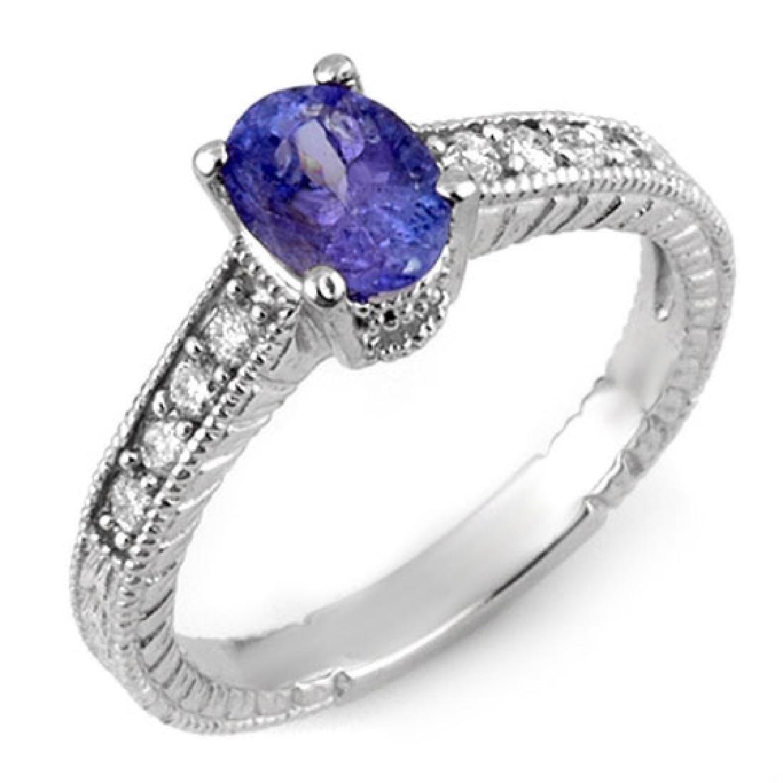 1.25 CTW Tanzanite & Diamond Ring 14K White Gold