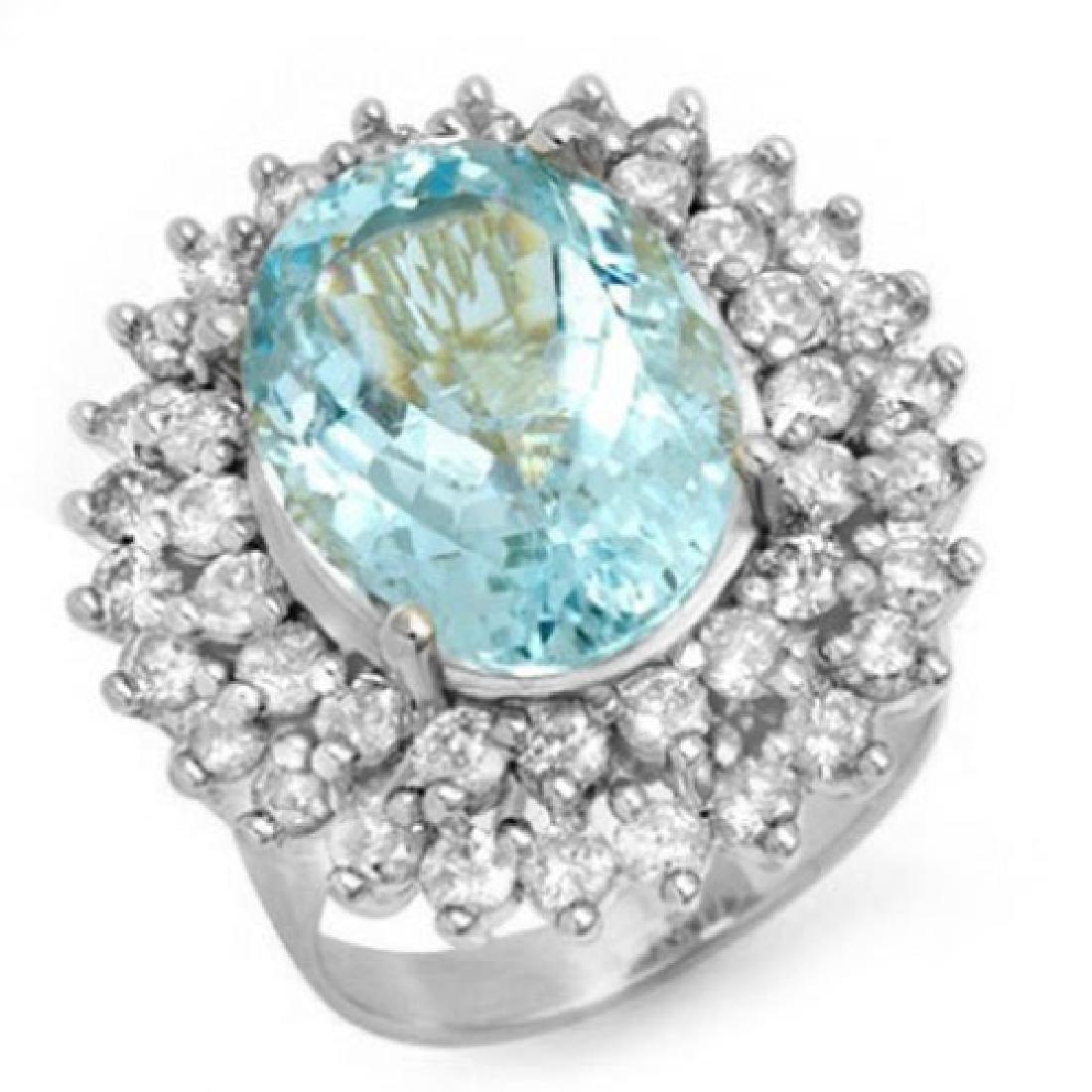 10.50 CTW Aquamarine & Diamond Ring 18K White Gold