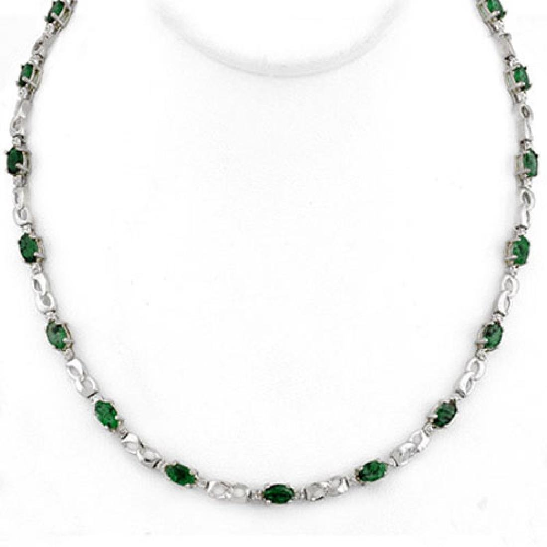 7.02 CTW Emerald & Diamond Necklace 18K White Gold