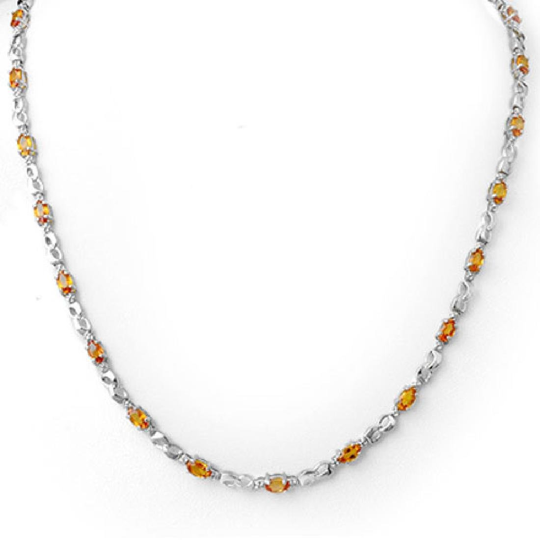 9.02 CTW Orange Sapphire & Diamond Necklace 18K White
