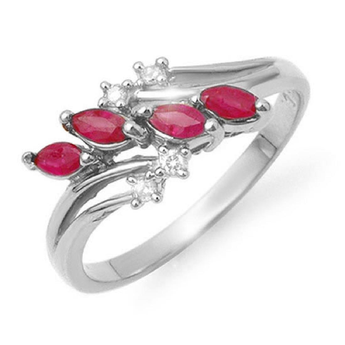 0.40 CTW Ruby & Diamond Ring 14K White Gold