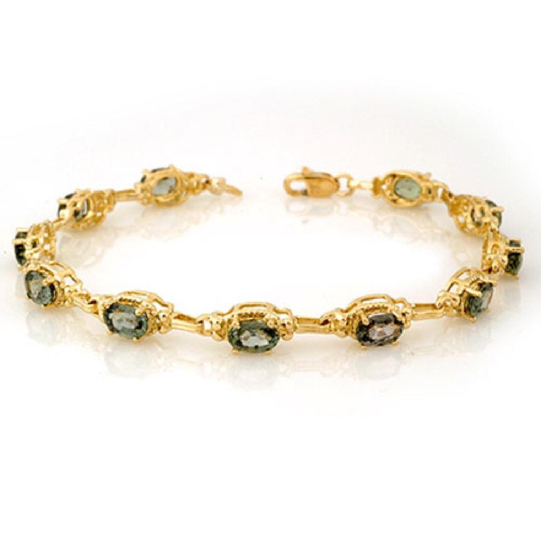 8.0 CTW Green Sapphire Bracelet 10K Yellow Gold