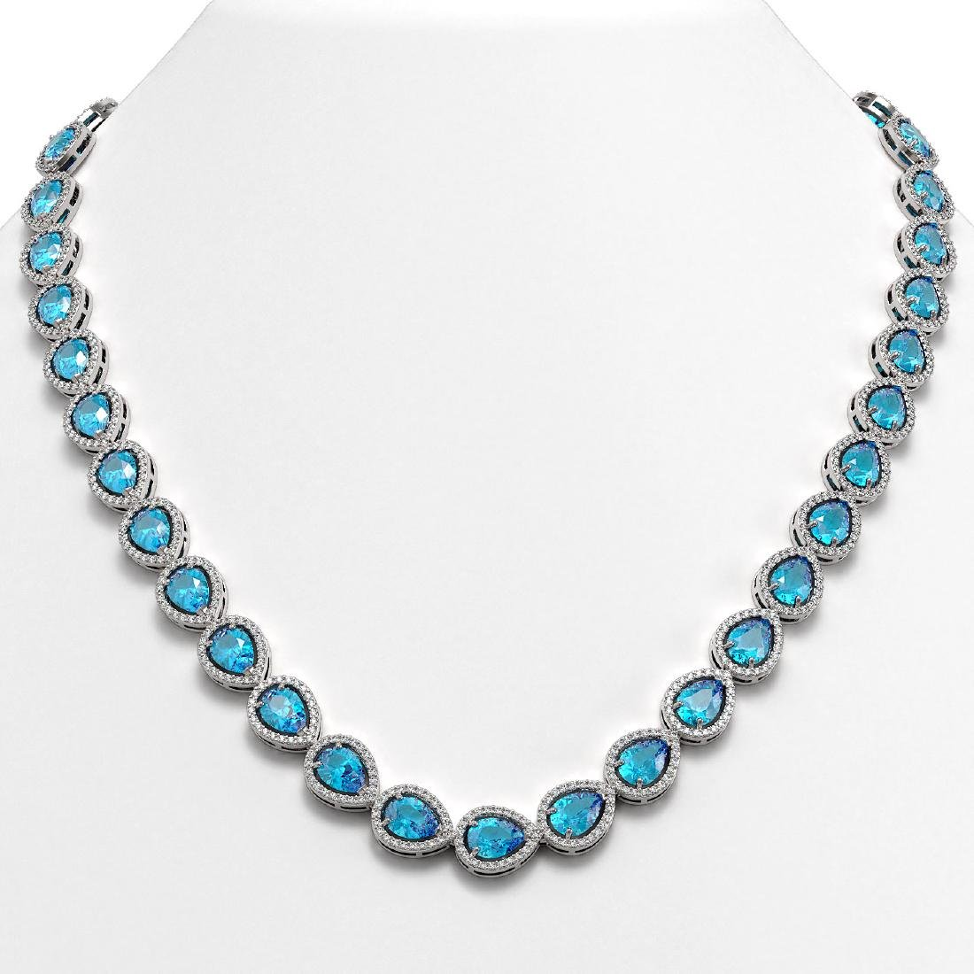 35.13 CTW Swiss Topaz & Diamond Halo Necklace 10K White