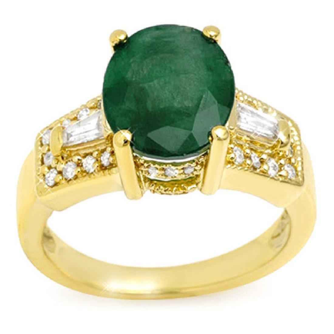 4.55 CTW Emerald & Diamond Ring 10K Yellow Gold