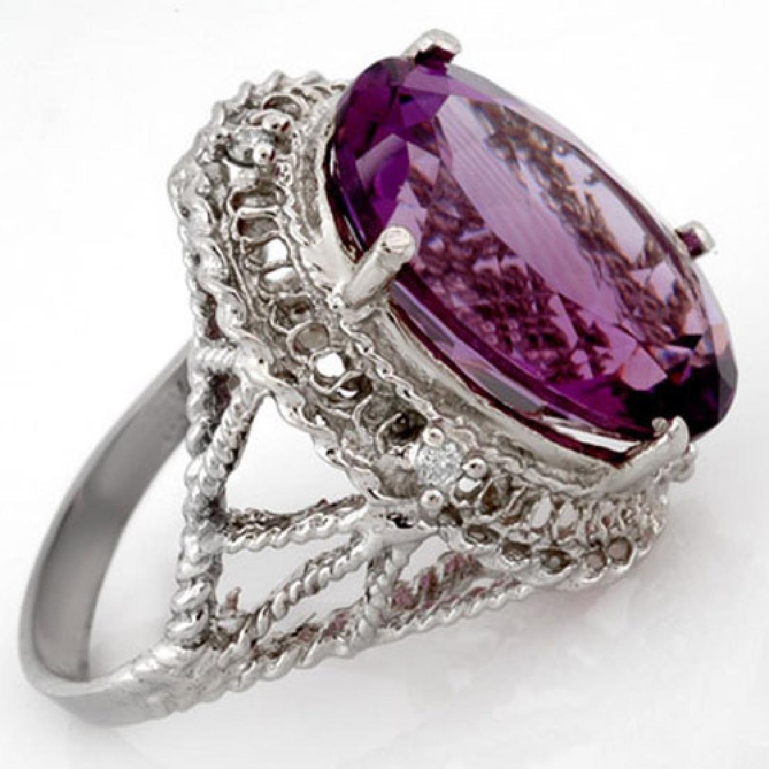13.03 CTW Amethyst & Diamond Ring 10K White Gold