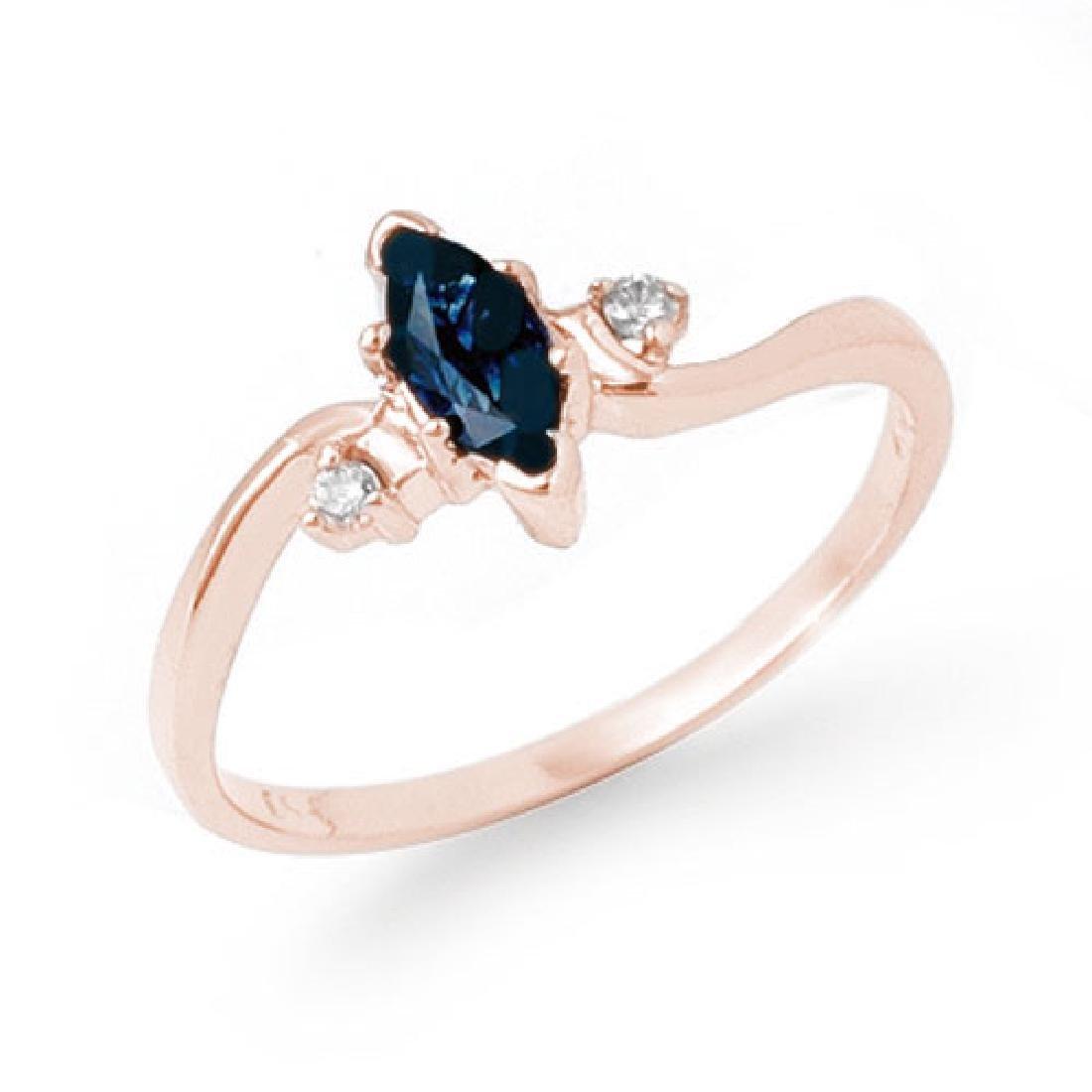 0.42 CTW Blue Sapphire & Diamond Ring 14K Rose Gold
