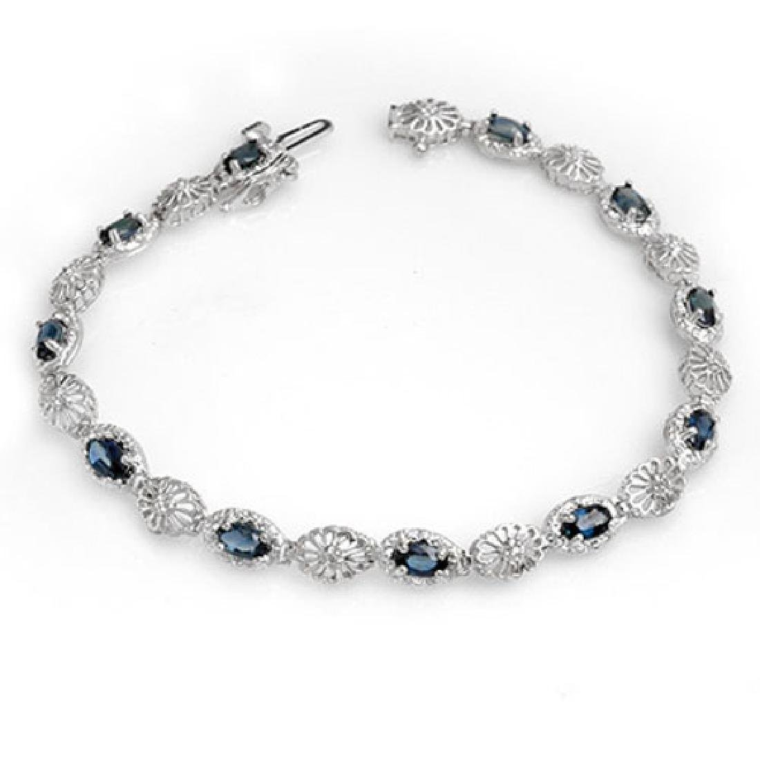 4.82 CTW Blue Sapphire & Diamond Bracelet 10K White