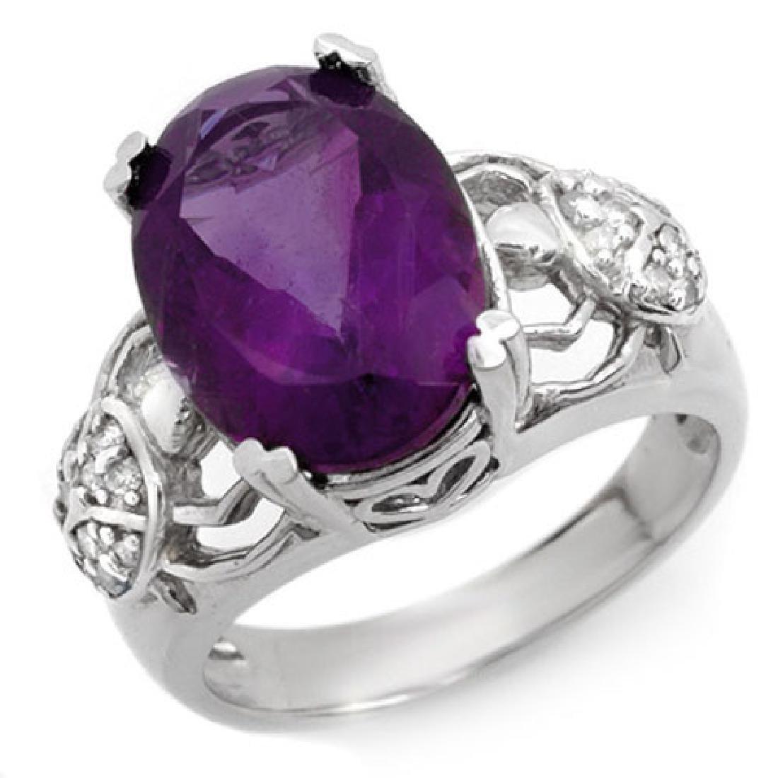 6.20 CTW Amethyst & Diamond Ring 10K White Gold