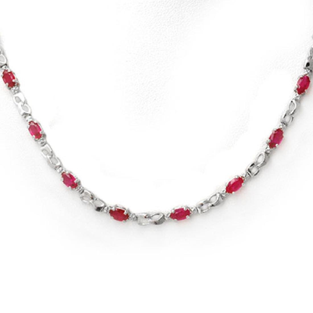 9.02 CTW Ruby & Diamond Necklace 18K White Gold