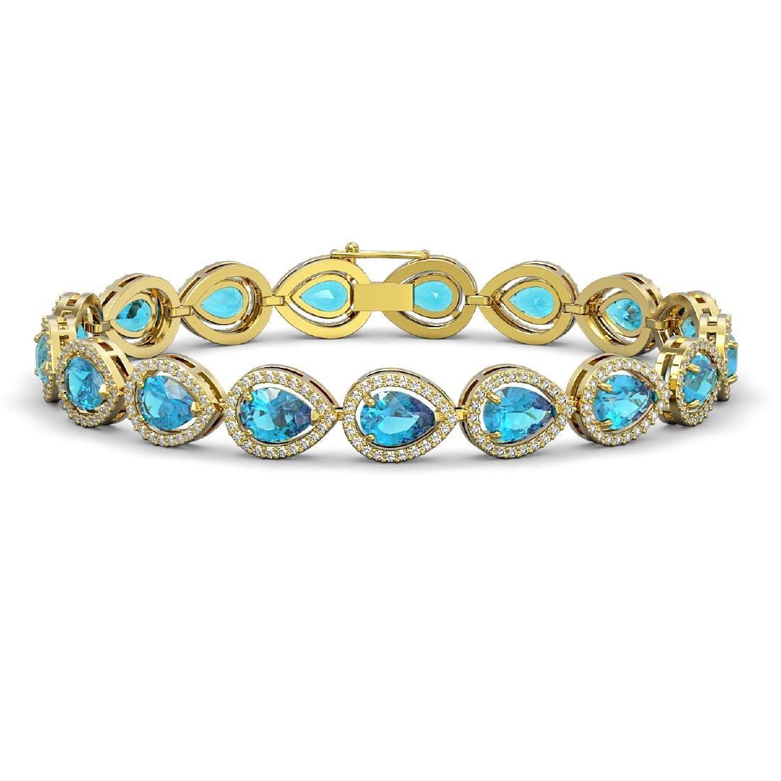 16.59 CTW Swiss Topaz & Diamond Halo Bracelet 10K