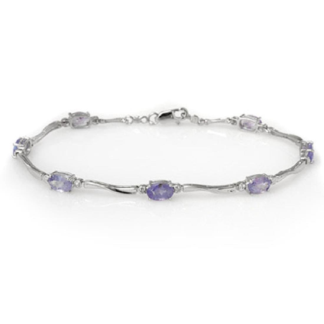 4.02 CTW Tanzanite & Diamond Bracelet 10K White Gold