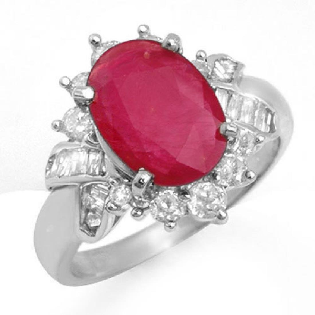 4.42 CTW Ruby & Diamond Ring 18K White Gold