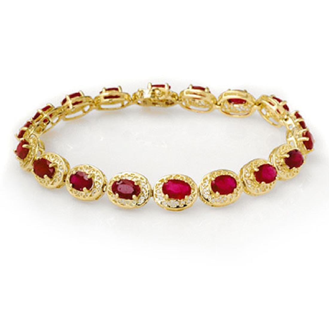 12.75 CTW Ruby Bracelet 10K Yellow Gold