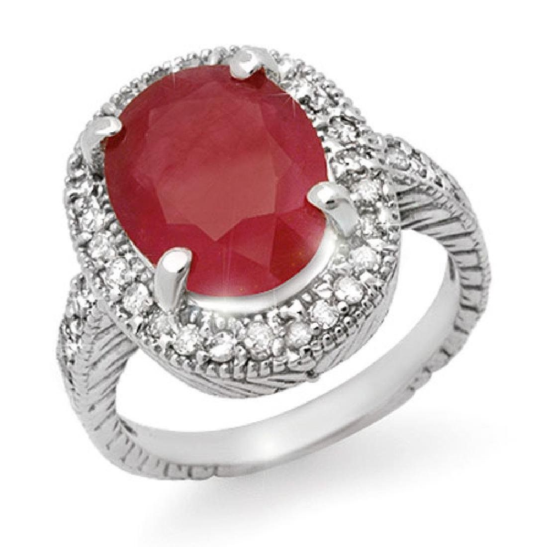 8.0 CTW Ruby & Diamond Ring 14K White Gold