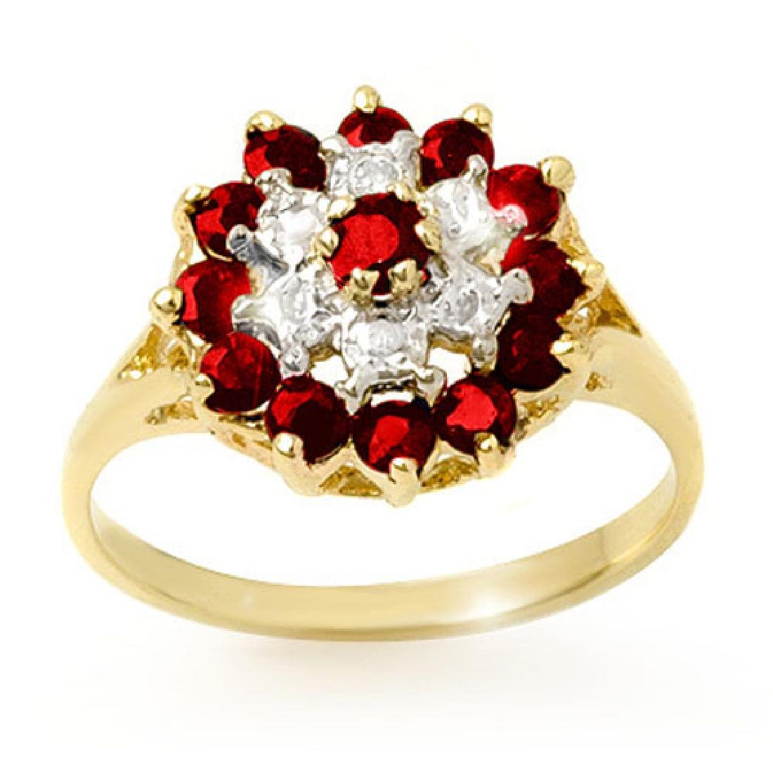 1.12 CTW Ruby & Diamond Ring 10K Yellow Gold