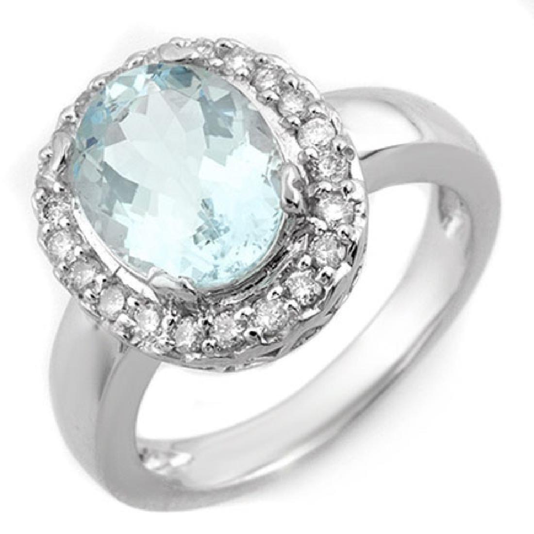 3.40 CTW Aquamarine & Diamond Ring 10K White Gold