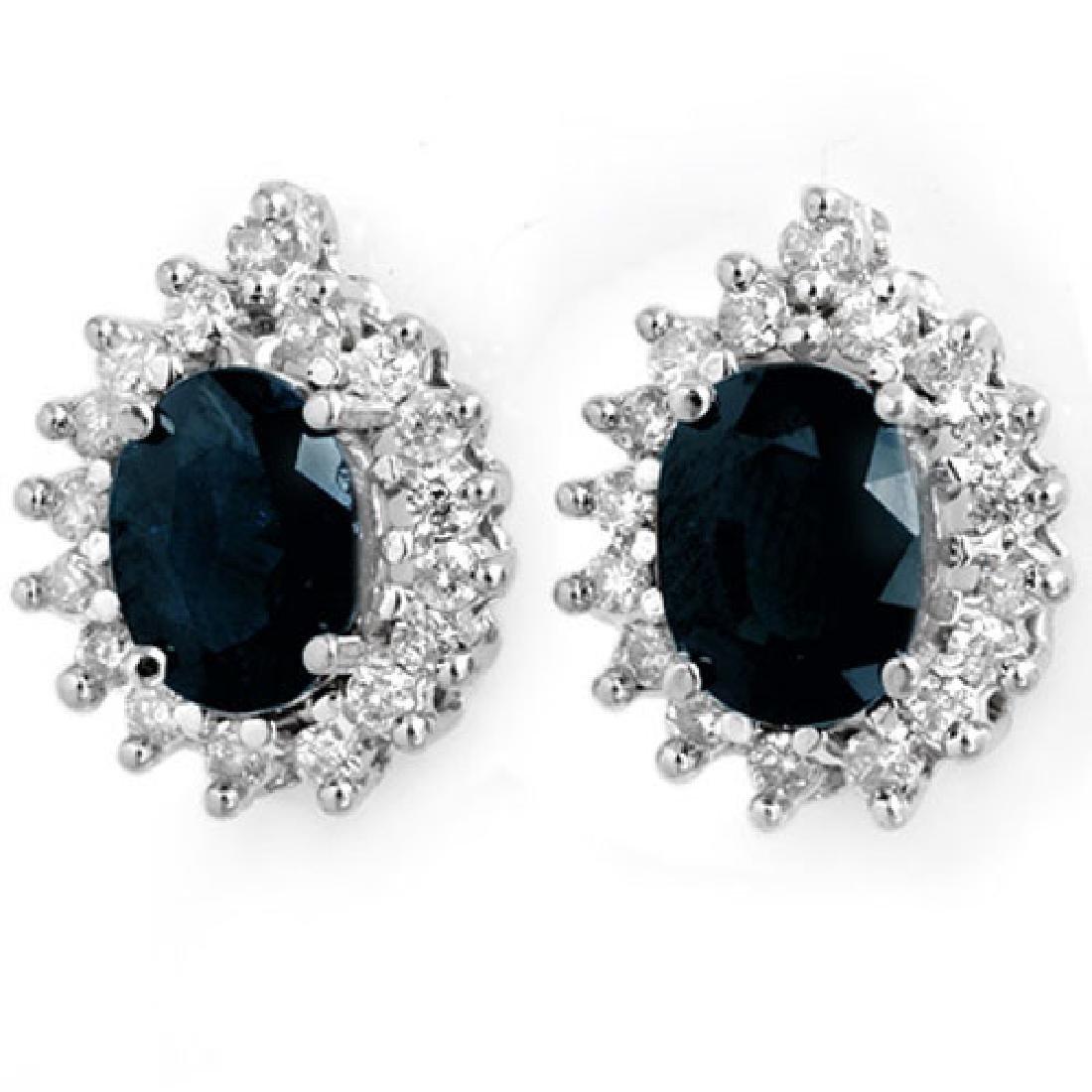 3.87 CTW Blue Sapphire & Diamond Earrings 14K White