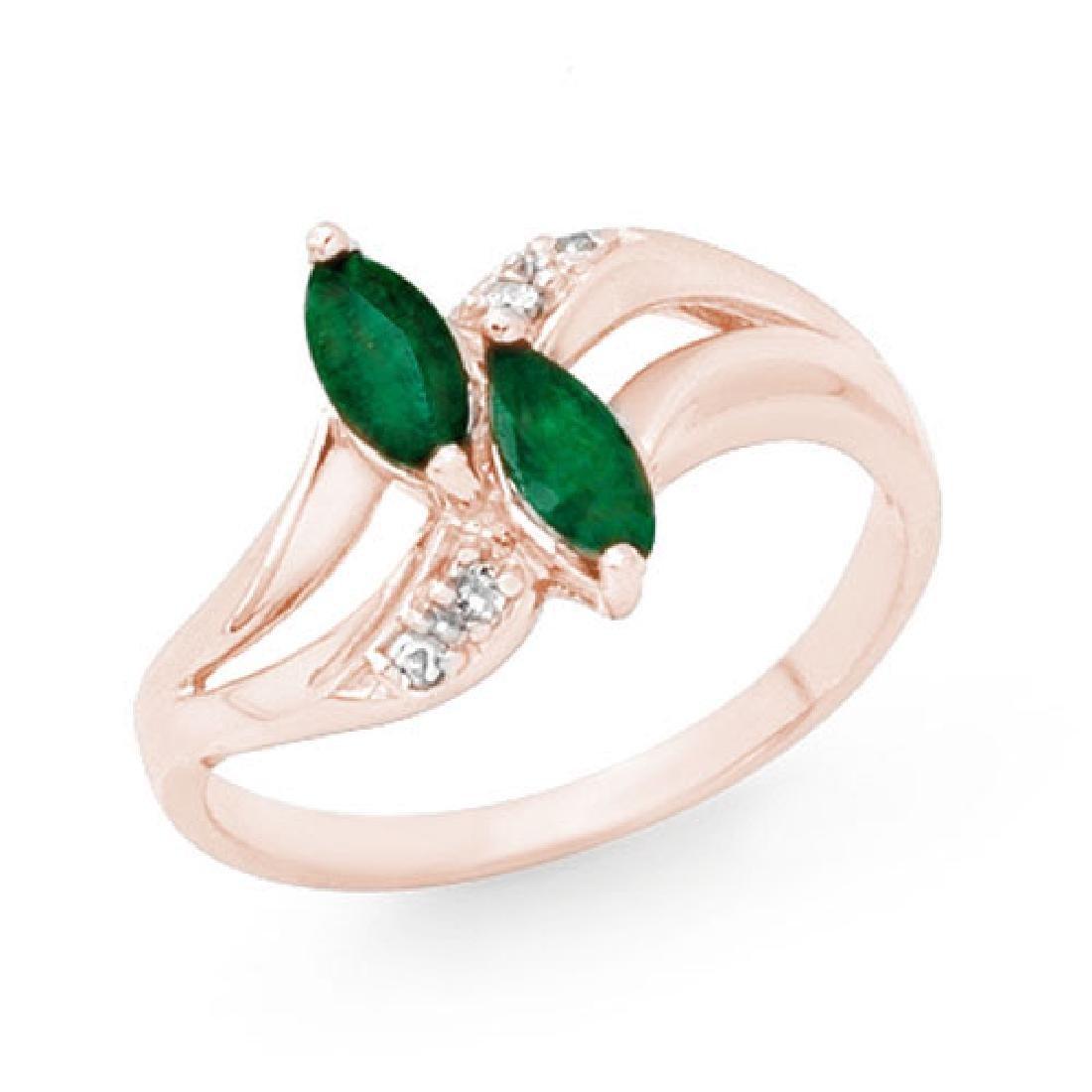 0.45 CTW Emerald & Diamond Ring 10K Rose Gold