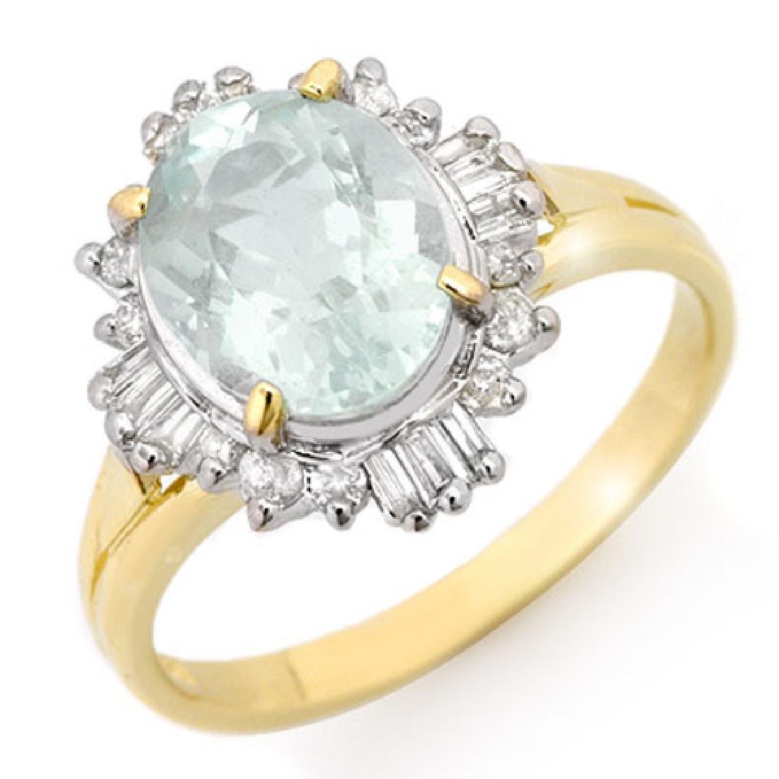 2.53 CTW Aquamarine & Diamond Ring 10K Yellow Gold