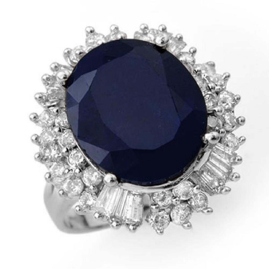 16.66 CTW Blue Sapphire & Diamond Ring 18K White Gold