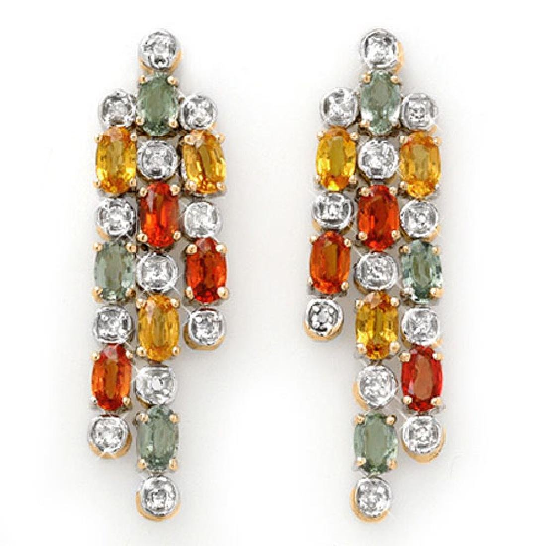 4.08 CTW Multi-Sapphire & Diamond Earrings 14K Yellow