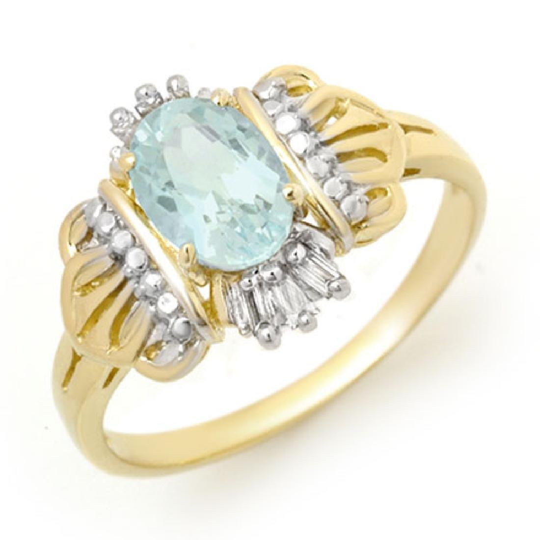 1.05 CTW Aquamarine & Diamond Ring 10K Yellow Gold