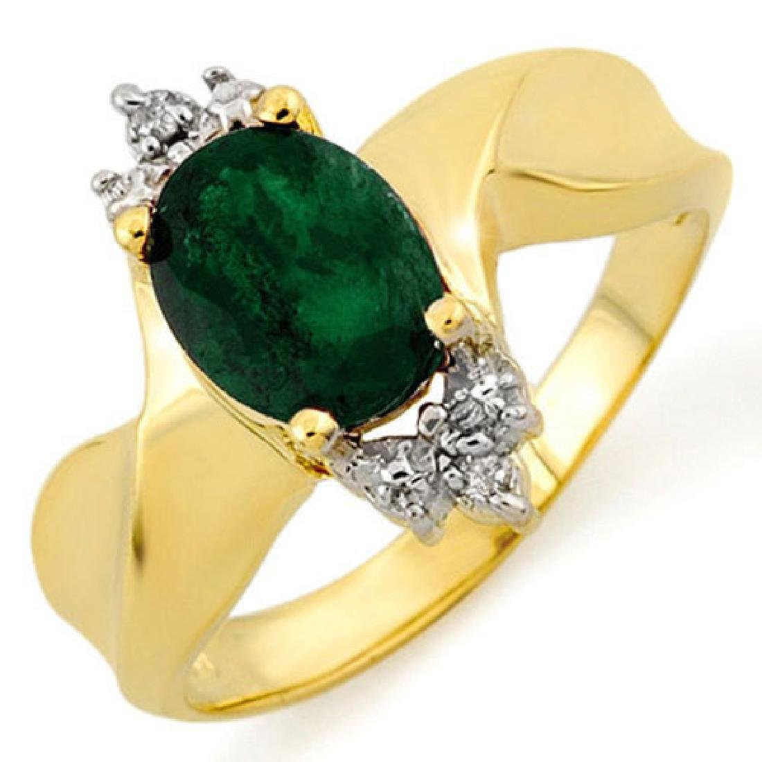1.29 CTW Emerald & Diamond Ring 10K Yellow Gold