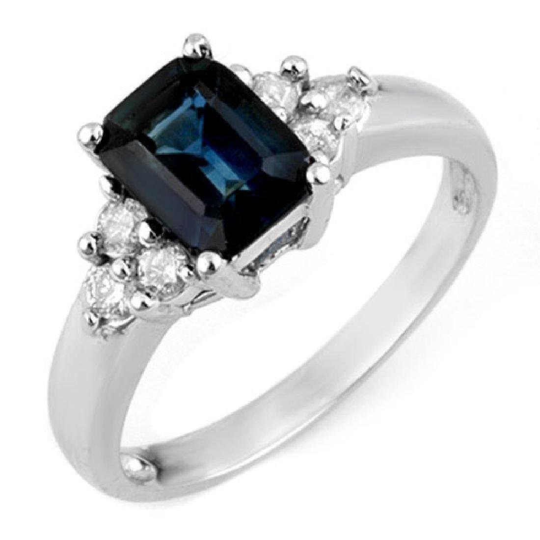 2.66 CTW Blue Sapphire & Diamond Ring 18K White Gold
