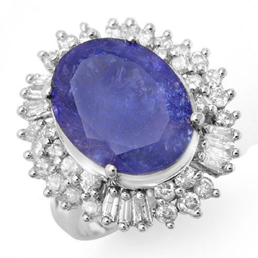12.75 CTW Tanzanite & Diamond Ring 18K White Gold