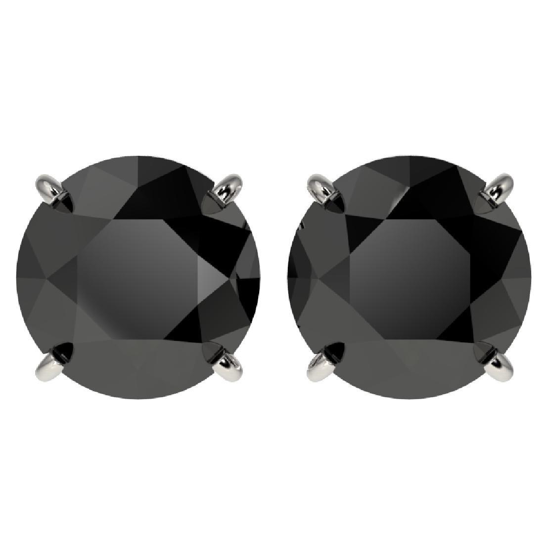 4.19 CTW Fancy Black VS Diamond Solitaire Stud Earrings