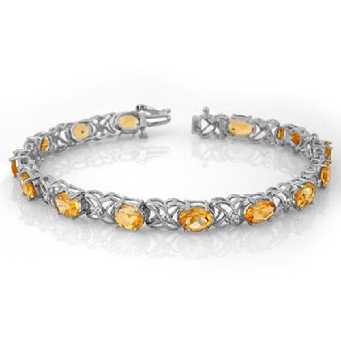 10.65 CTW Citrine & Diamond Bracelet 14K White Gold